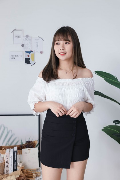 Korea Basic Wrinkle Off Shoulder Oversize Top (White)