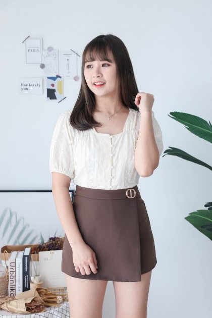 Korea Eyelet Lace Small Square Neck Button Front Short Sleeve Top (Beige)