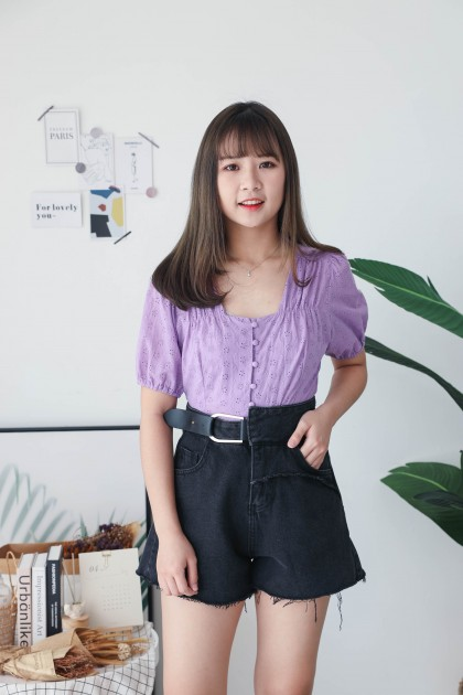 Korea Eyelet Lace Small Square Neck Button Front Short Sleeve Top (Purple)