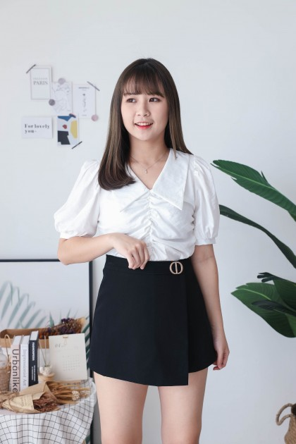 Korea Wrinkle V Collar Elastic Short Sleeve blouse (White)